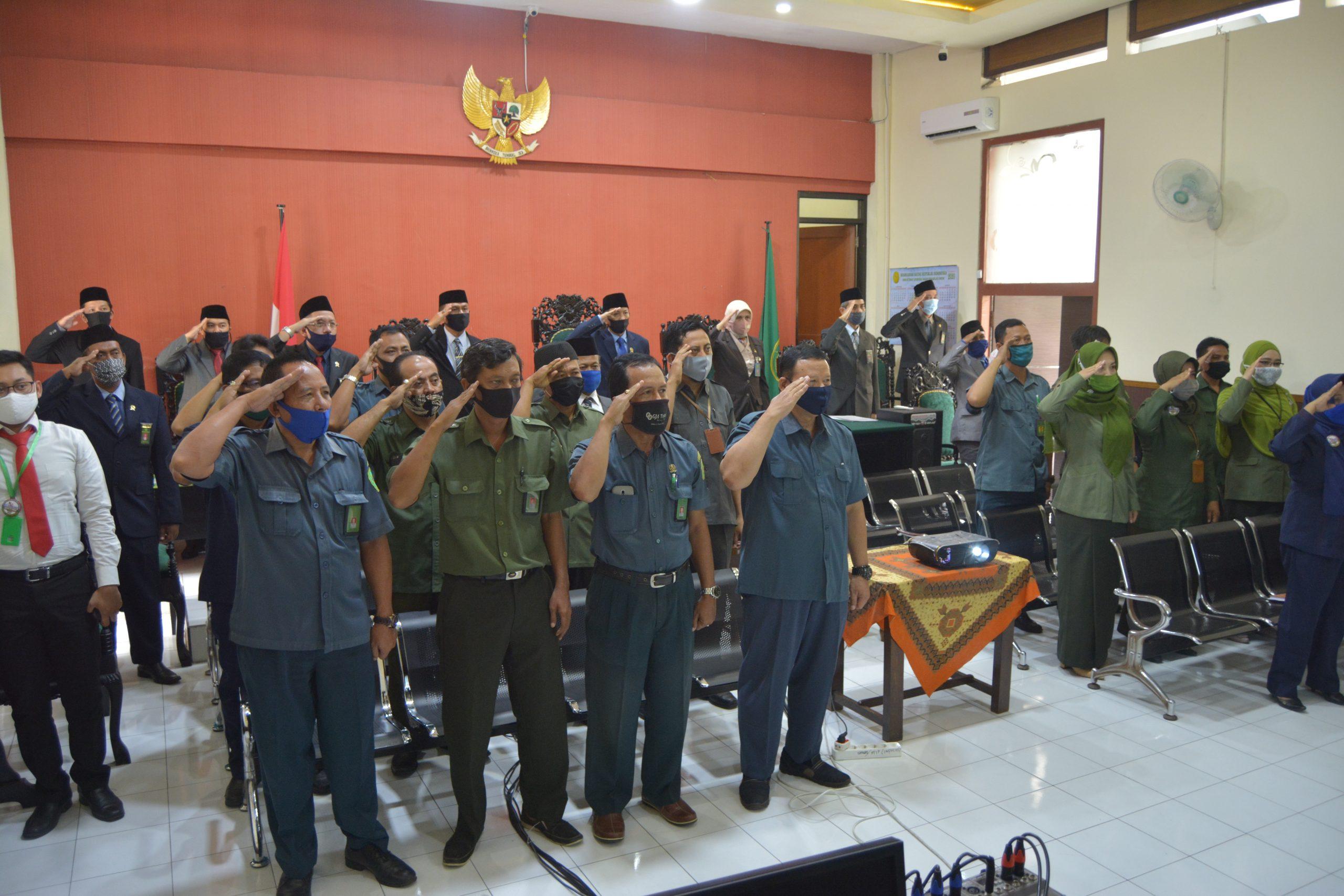 PN Banyuwangi Ikuti Upacara HUT MA RI Ke-75 Secara Virtual